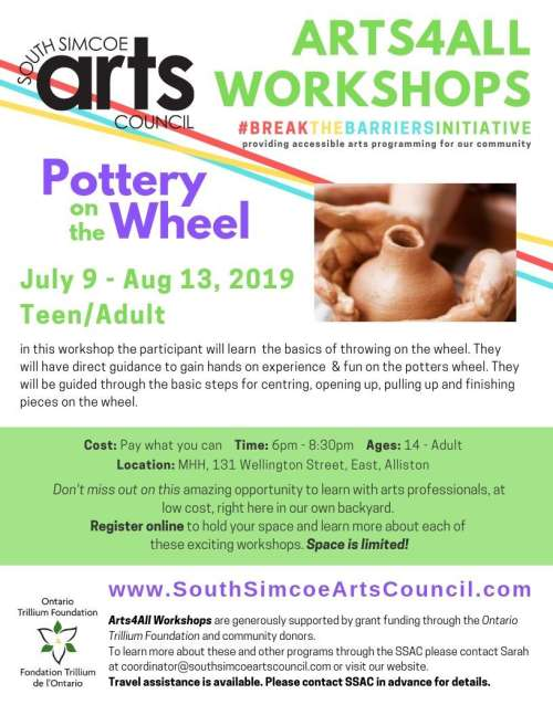 South Simcoe Arts Council - OTF_PW_AdultAlliston - Pottery on the