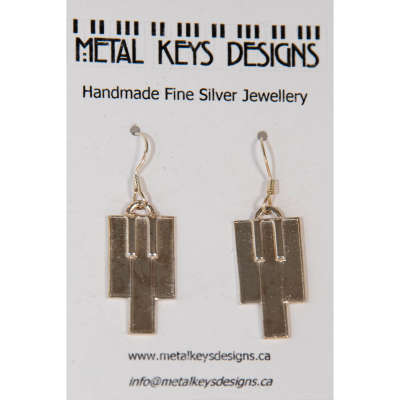 earrings - silver piano keys
