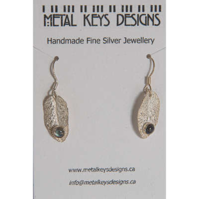 earrings - silver sage leaf with labradorite
