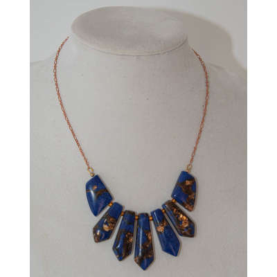 Fashion Necklace - Royal Blue/Copper Jasper, Copper Chain