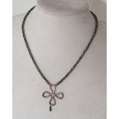 necklace - chainmaille silver and green with clover