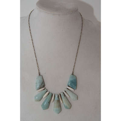 Necklace: amazonite, shell, sterling silver