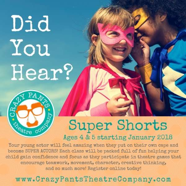 Super Shorts coming to Crazy Pants Theatre Company