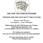 "THE NEW TECUMSETH SINGERS  ""SINGING FOR THE LOVE OF IT"" FOR 25 YEARS"