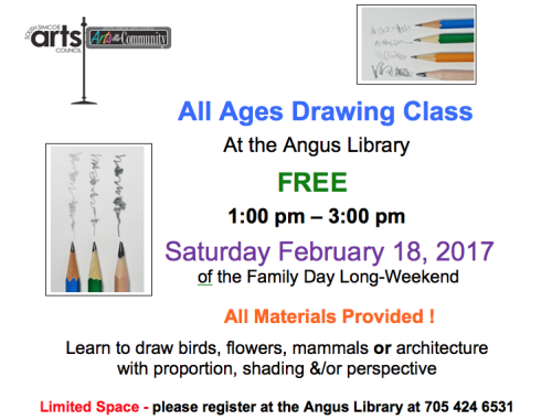 FAMILY DAY WEEKEND- SATURDAY FEBRUARY 18th: FREE - ALL AGES DRAWING CLASS with Len MacLeod
