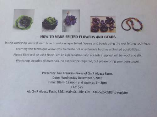Felted Flowers & Beads at Gn
