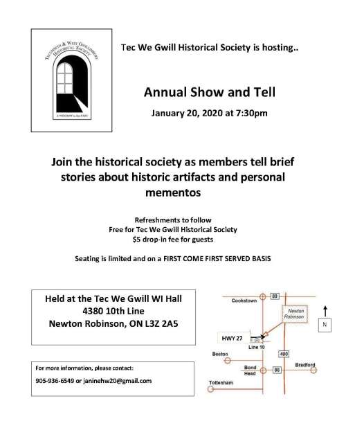 Tecumseth and West Gwillimbury Historical Society January Speaker