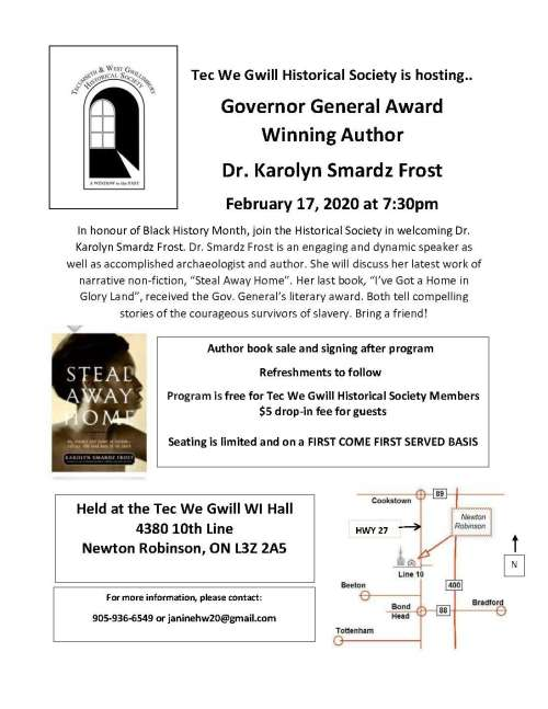 Governor General Award Winning Author  Dr. Karolyn Smardz Frost
