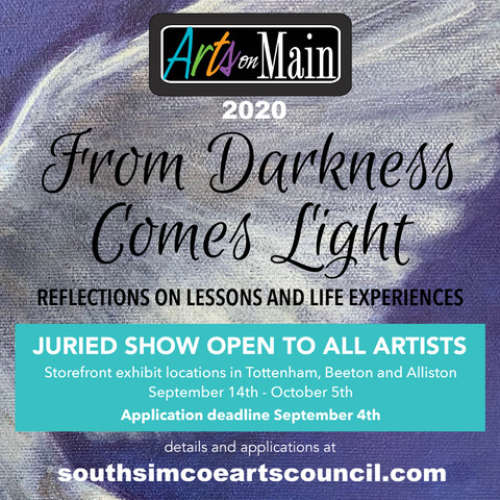 Call for Arts on Main 2020 - From Darkness Comes Light
